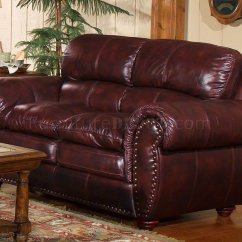 Leather Italia Sofa Furniture Sectional Sofas Bassett Classic Merlot Vail & Loveseat Set W ...