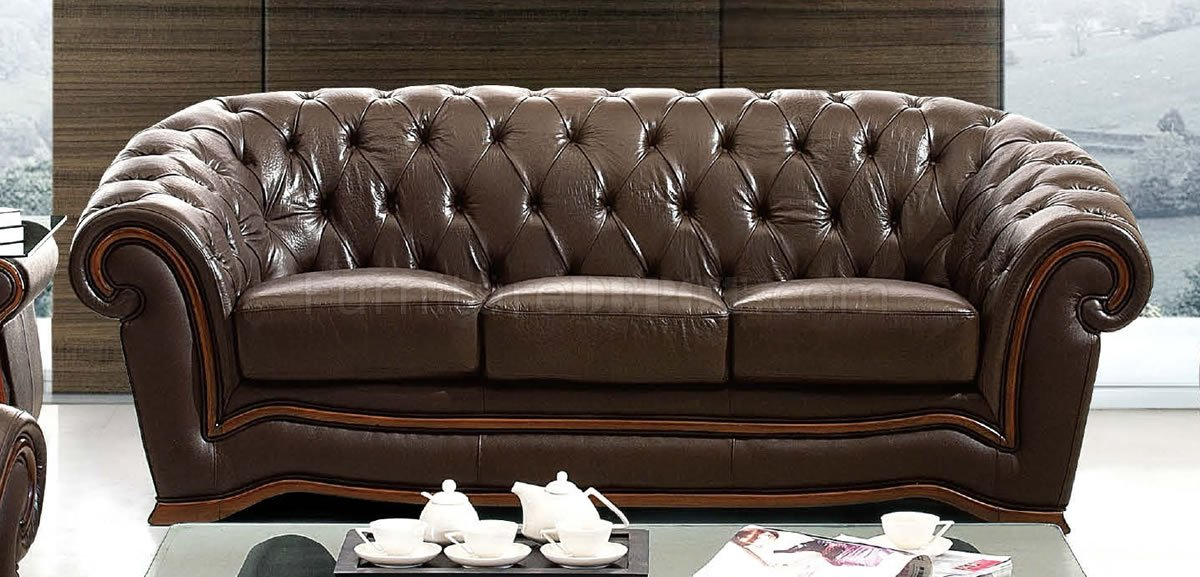 Brown Genuine Leather Formal Living Room Sofa wTufted Seats