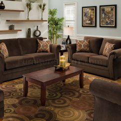 Sofa And Loveseat Set Up Contemporary Wooden Frame Chocolate Fabric Modern Casual Living Room