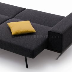 Charcoal Gray Sofa Bed Reclining For Sale Toronto Grey Fabric Modern W Stainless Steel Base