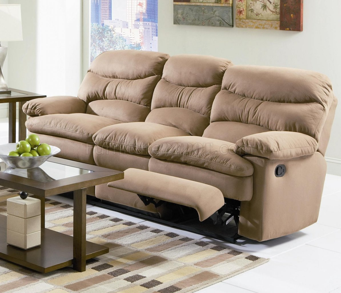light brown leather reclining sofa sectional sleeper atlanta microfiber modern