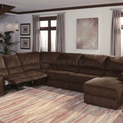 Recliner Sectional Sleeper Sofa Pauline Leather Dark Chocalate Micro Suede Contemporary Reclining