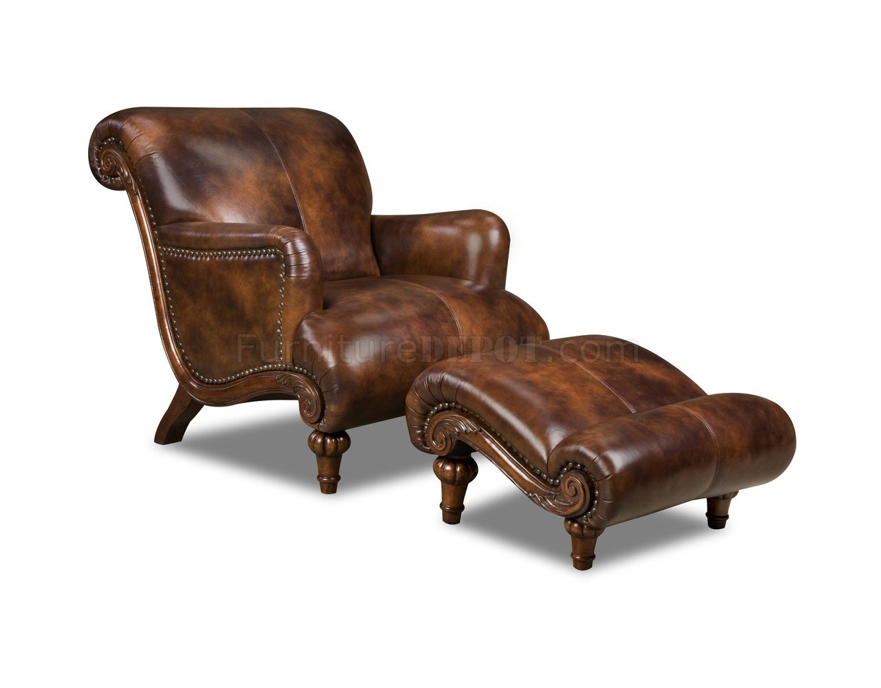 Cognac Brown Top Grain Leather Traditional Chair & Ottoman