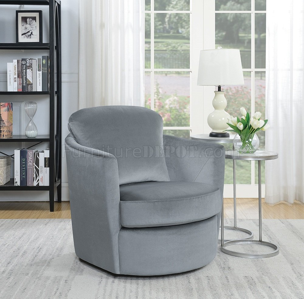 904090 Set of 2 Swivel Accent Chairs in Grey Velvet by Coaster