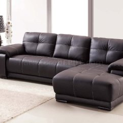 Dark Brown Leather Chair Home Office Chairs No Wheels Lucy Sectional Sofa In Bonded