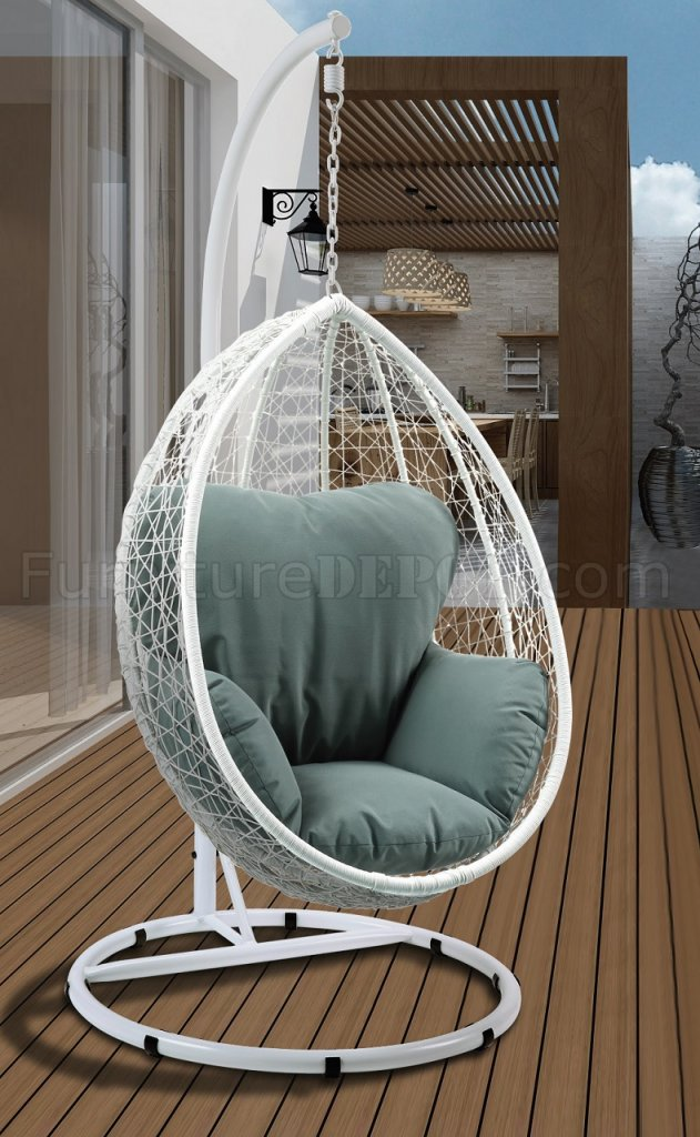 Simona Patio Swing Chair 45032 in Green  White by Acme