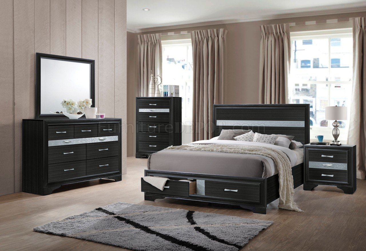Naima Bedroom Set 5Pc 25900 in Black by Acme wStorage Bed