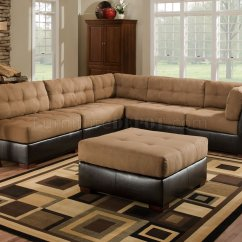 Brown Leather And Fabric Sectional Sofa Sofas Columbus Ohio Camel W Dark Faux Base