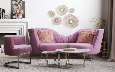 Eva Sofa TOVL6128 in Blush Velvet by TOV Furniture wOptions