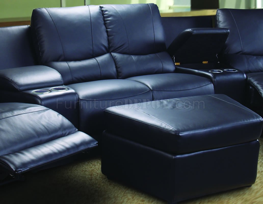 theater chair accessories for posture black leatherette home sectional w motorized recliners