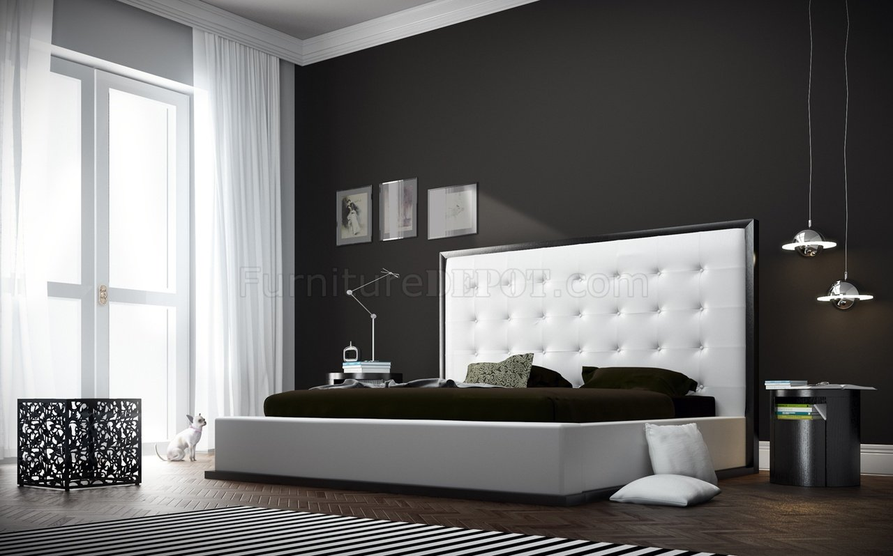 Ludlow Platform Bed In White Full Leather By Modloft