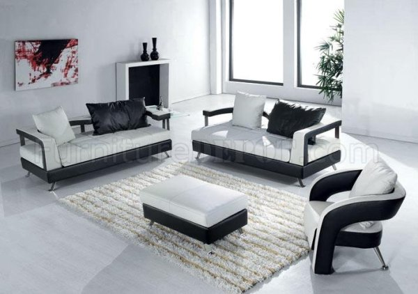 modern living room furniture Black and White Leather Ultra Modern 4Pc Living Room Set