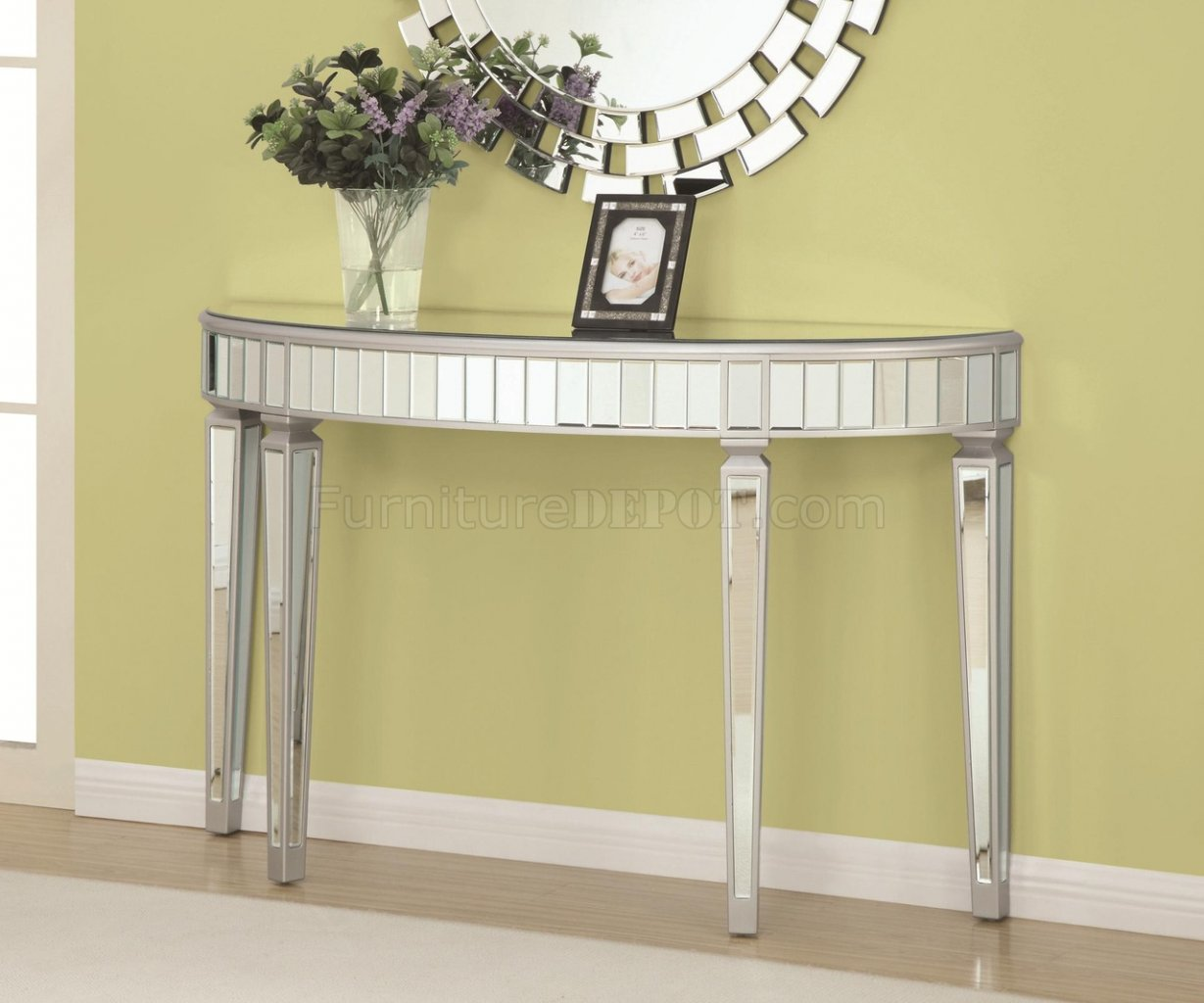 950183 Console Table In Silver Tone By Coaster