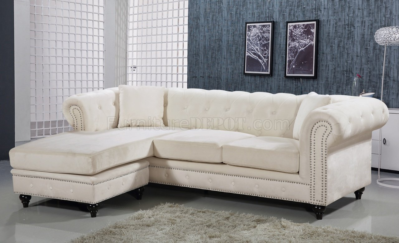 sabrina sofa cream leather tufted sectional 667 in velvet fabric by meridian