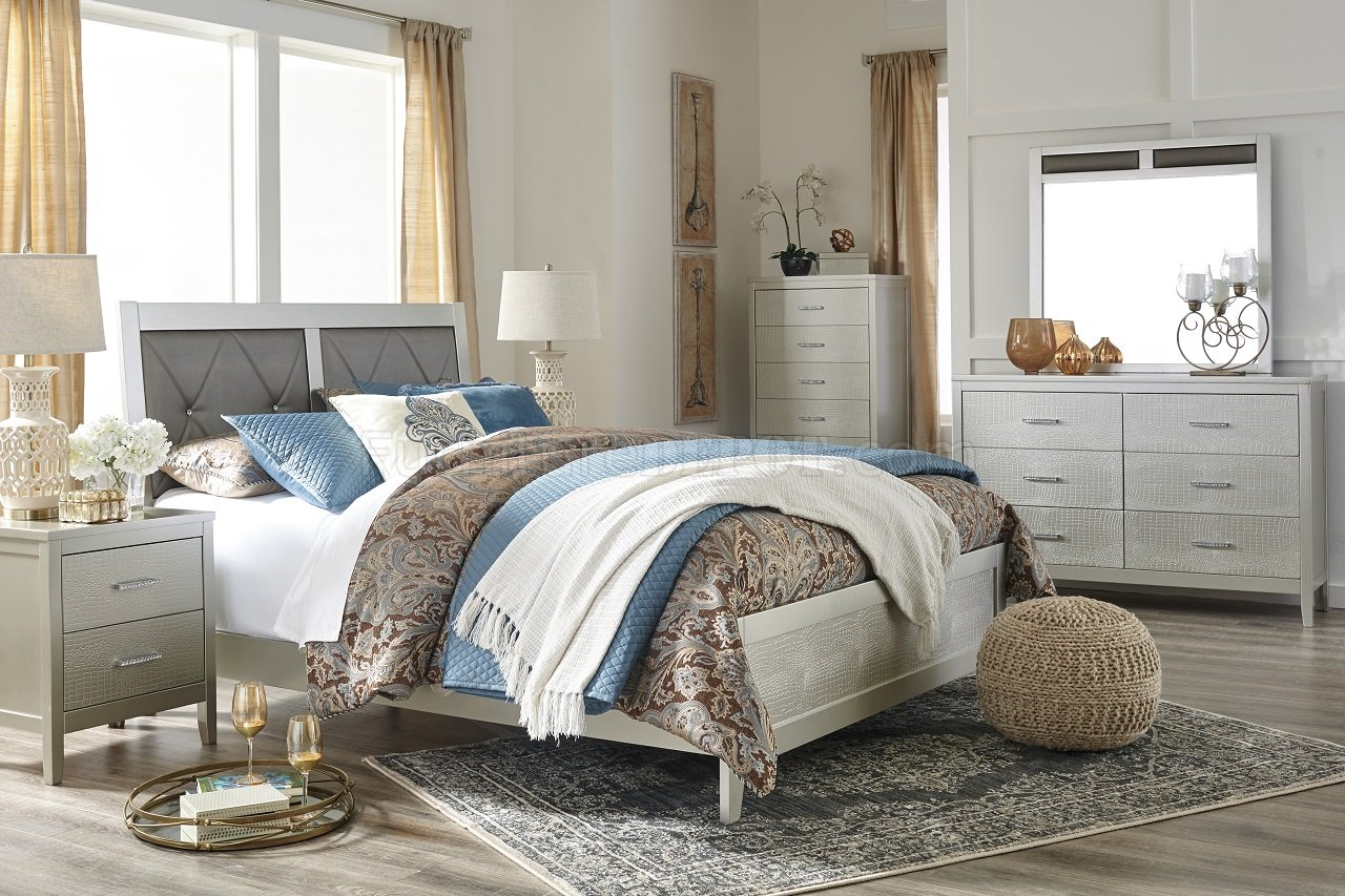 Olivet Bedroom 5pc Set B560 in Silver Finish by Ashley
