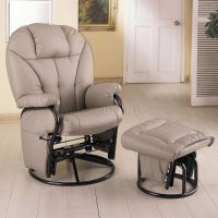 Bone Leatherette Modern Swivel Glider Chair w/Ottoman