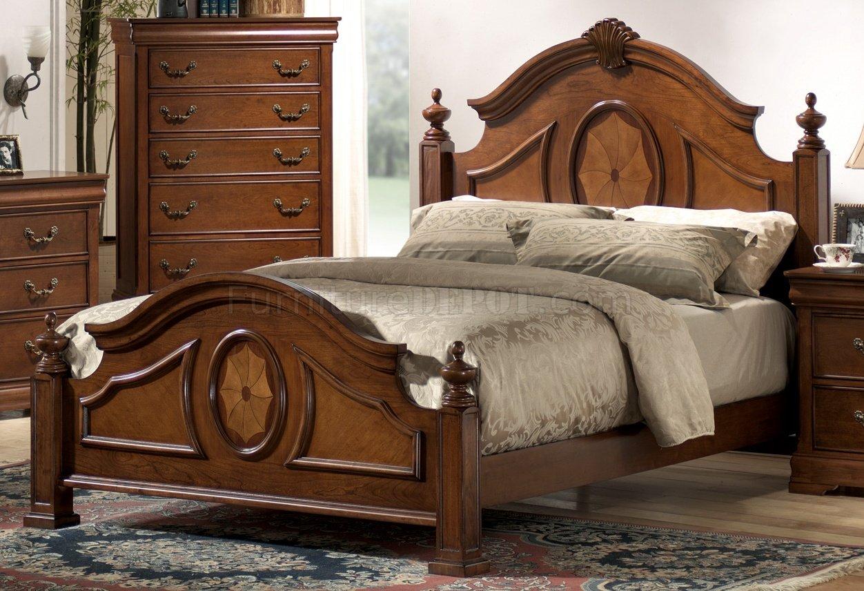 Rich Caramel Finish Elegant Antique Bedroom WArched Shape Bed