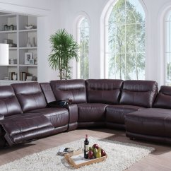 Acme Sectional Sofa Chocolate Aston Leather Bed Black Oleta 52550 In Dark Brown By