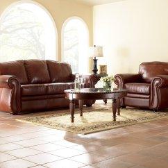 Chestnut Colored Leather Sofa 3 Cushion Slipcovers Canada Full Classic Living Room W Nail Head Trim