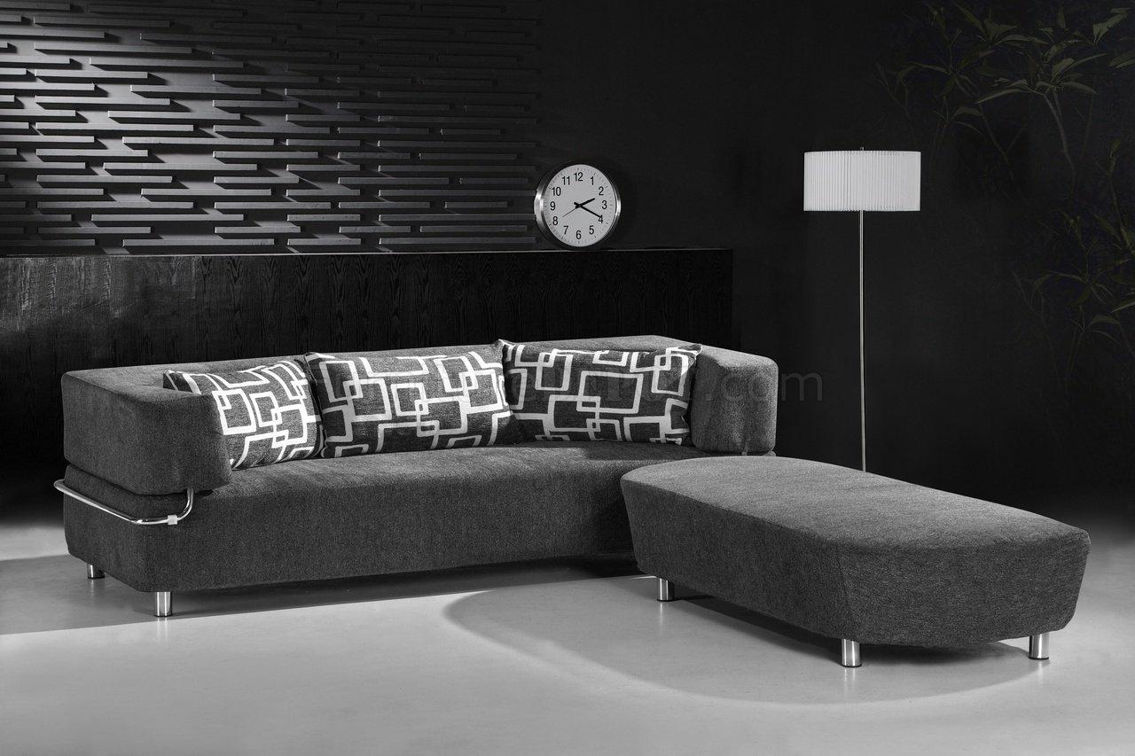 grey microfiber sleeper sofa parlor cb2 convertible sectional bed w ottoman bench