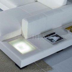 T35 Mini Modern White Leather Sectional Sofa Recliner Bad Back Bonded Or Half W Side Light