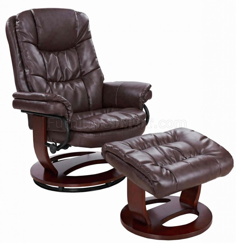 Savuage Brown Bonded Leather Modern Recliner Chair wOttoman