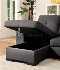 Denton Sectional Sofa CM6149GY in Gray Fabric w/Pullout ...