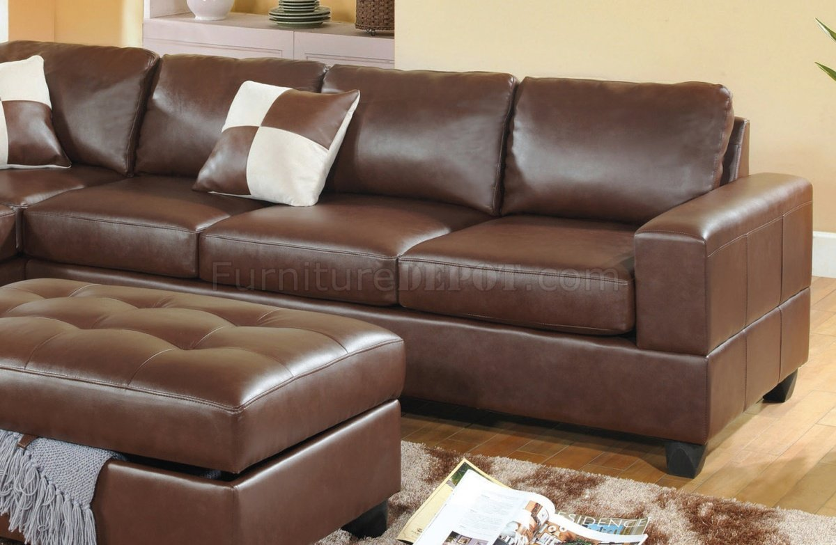 chocolate brown leather sectional sofa with 2 storage ottomans signature design by ashley oxford sleeper bonded modern w ottoman