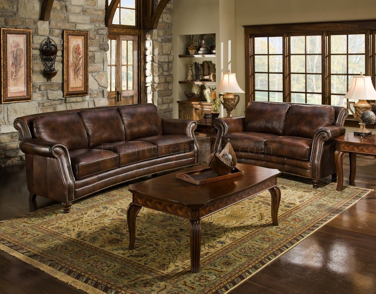 Cognac Top Grain Leather Traditional Sofa wOptional Items