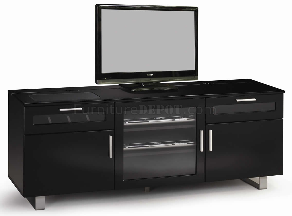 High Gloss Black Modern TV Stand wConnectIt Power Drawer