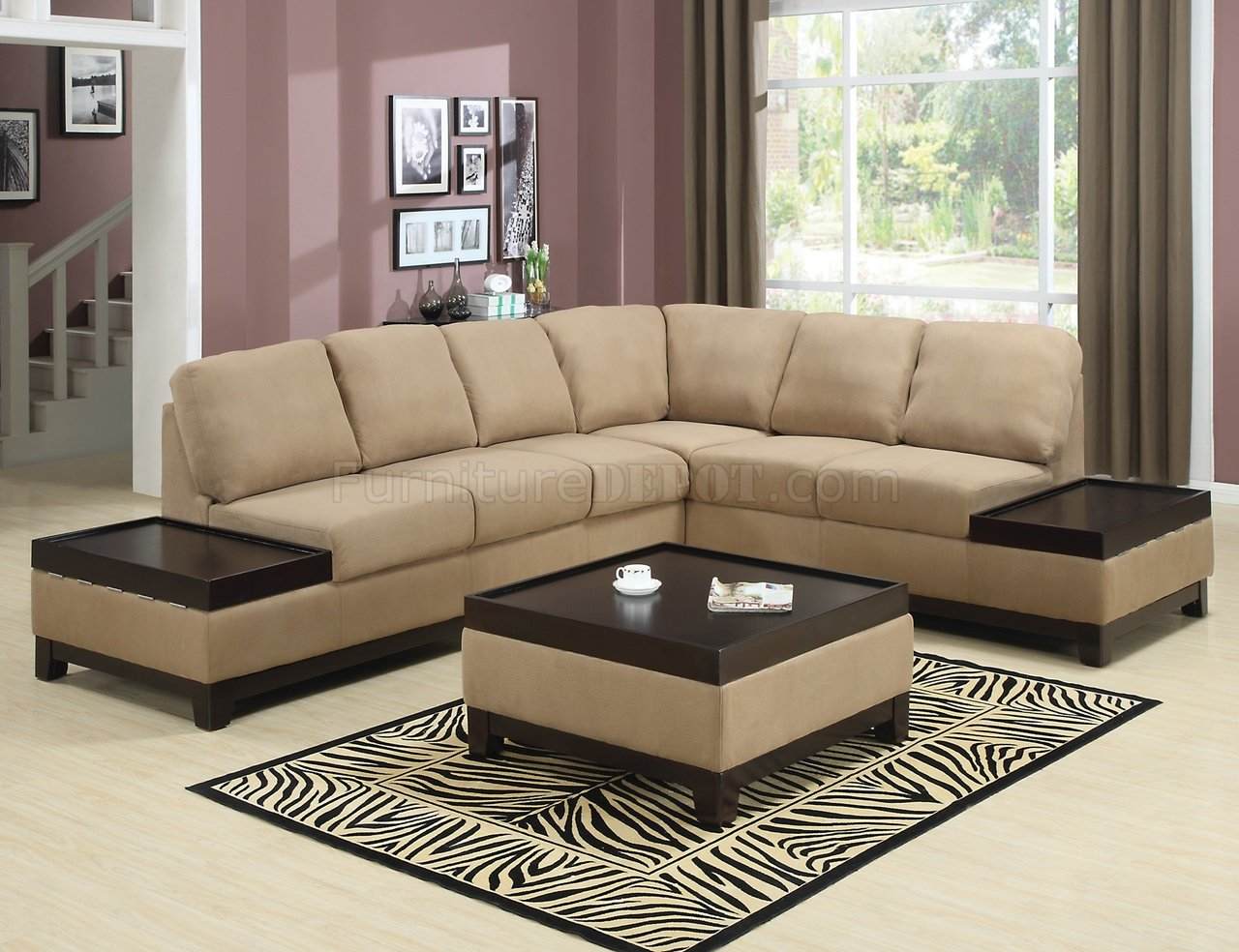 contemporary sofa with wood trim buy cheap set uk mocha padded suede modern sectional w dark