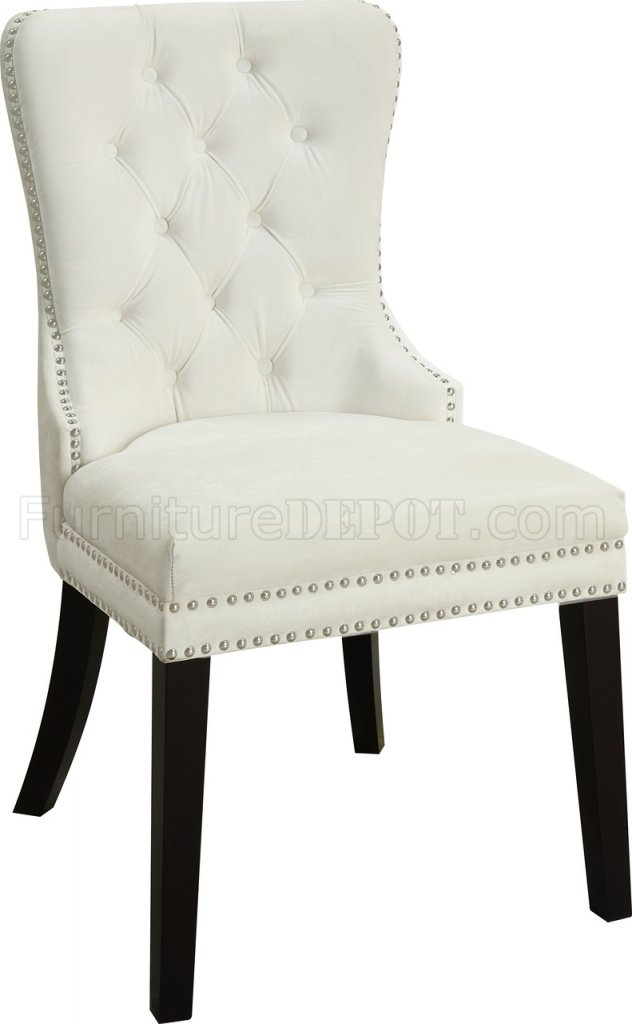 Nikki Dining Chair 740 Set of 2 Cream Velvet Fabric by