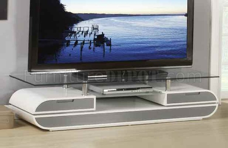 91142 Lainey TV Stand In White Amp Grey By Acme WGlass Top