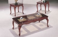Cherry High Gloss Finish Traditional 3PC Coffee Table Set