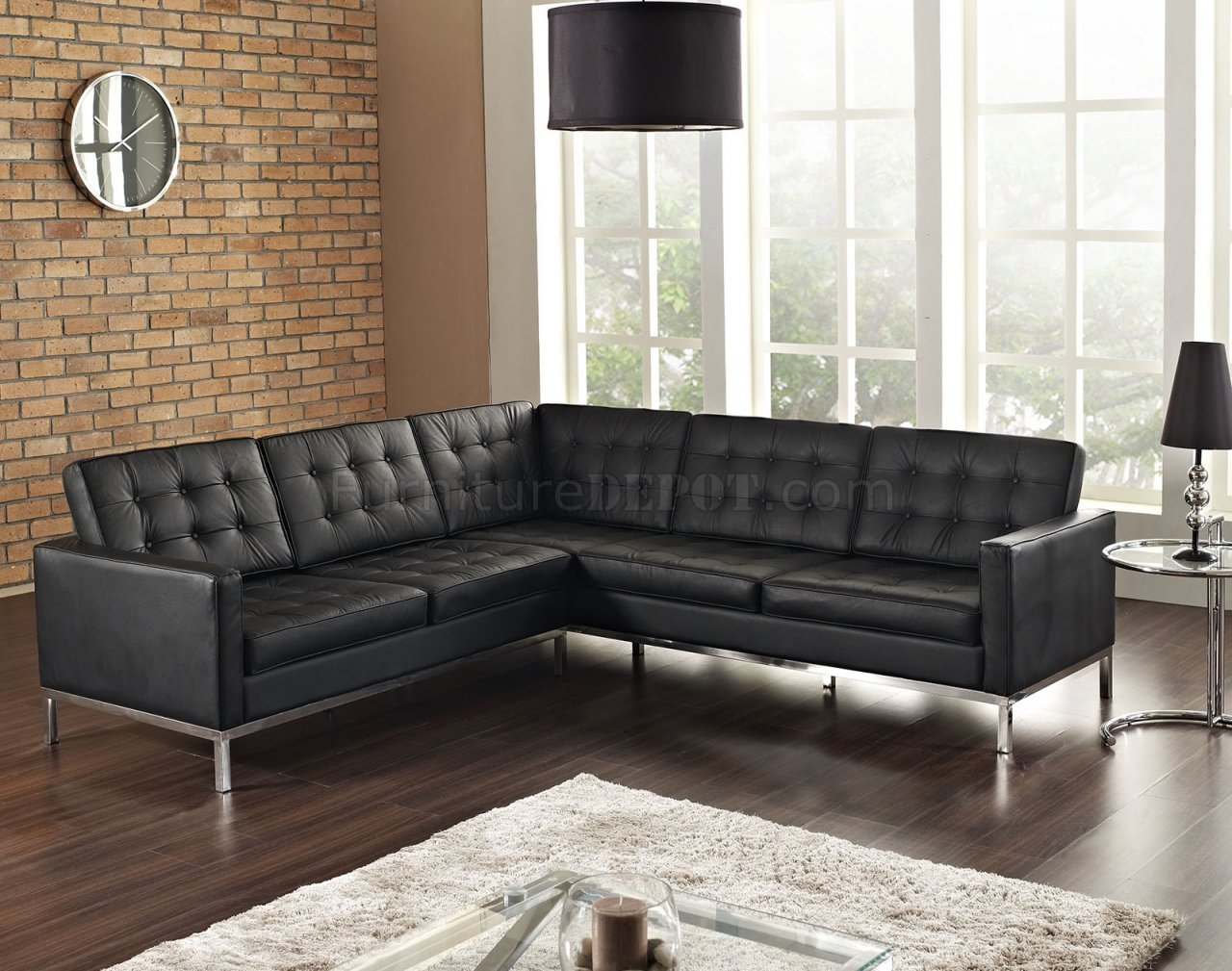 Loft LShaped Sectional Sofa in Black Leather by Modway