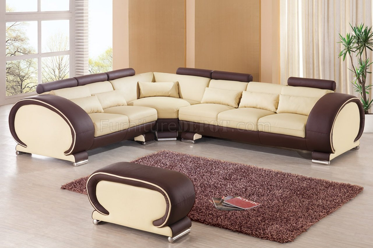 brown and beige sofa garden covers uk 9002 sectional by esf in leather
