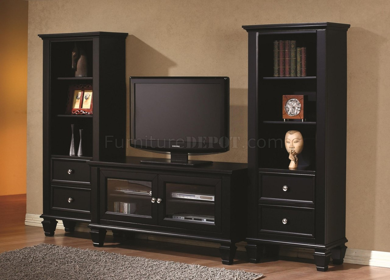 702251 TV Stand in Black by Coaster wOptional Media Towers