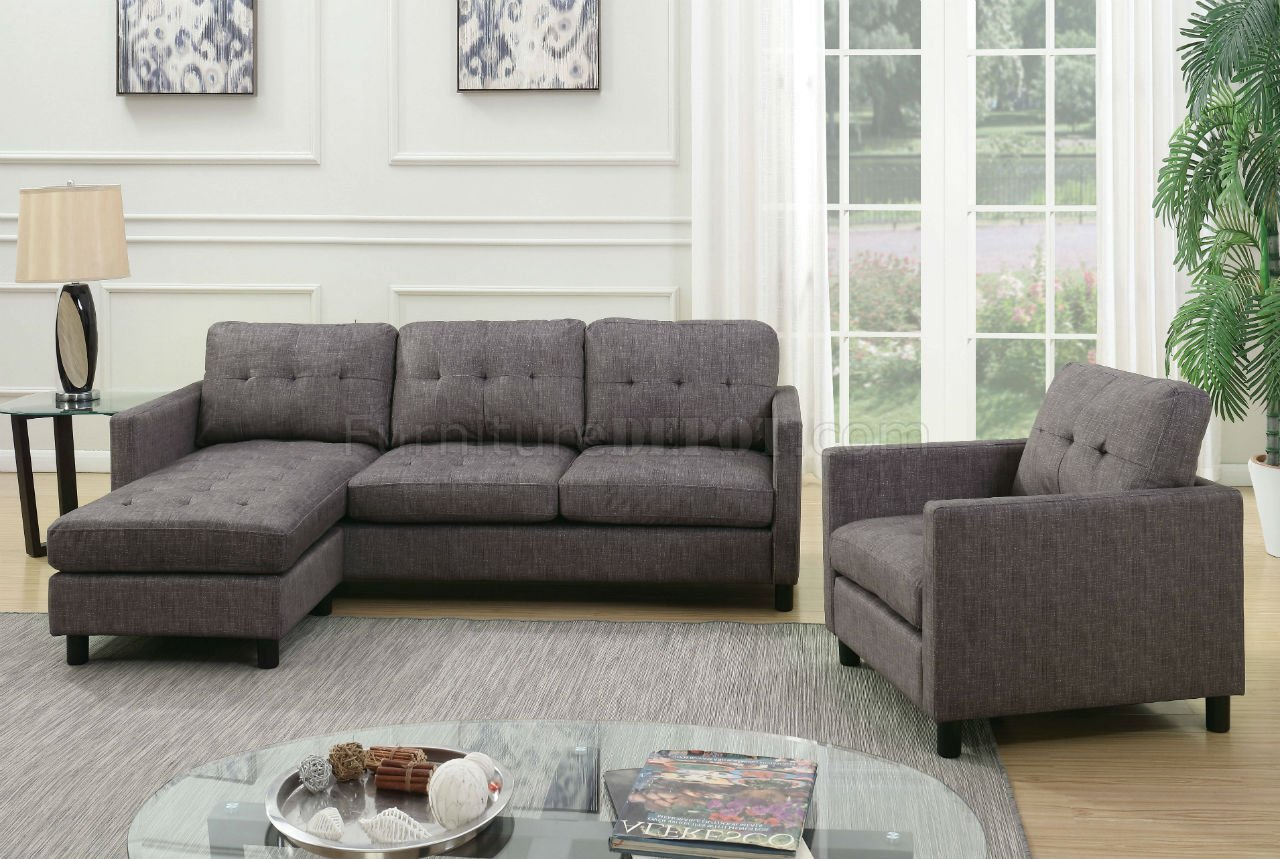 gray fabric sofa set leather repair orange county ceasar sectional 53315 in by acme w chair