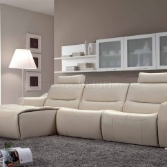 Reclinable Sectional Sofas Sofa And Dining Table Set Off White Leather 2143 Modern Reclining By Esf