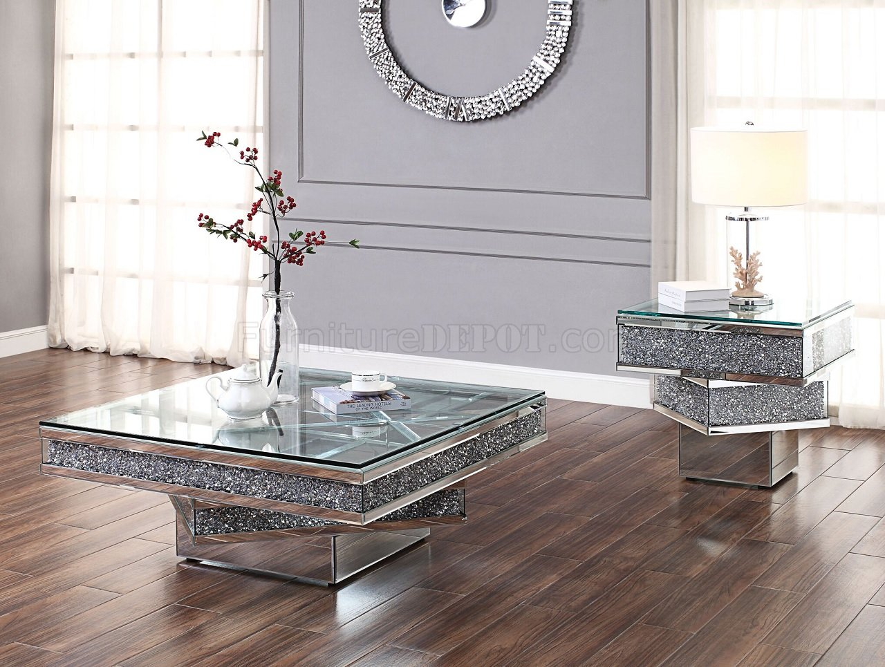 Noralie Coffee Table 81465 In Mirror By Acme WOptions