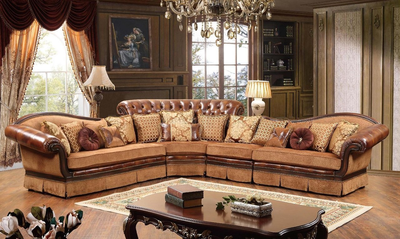 Linda Sectional Sofa in Brown Fabric  Bonded Leather