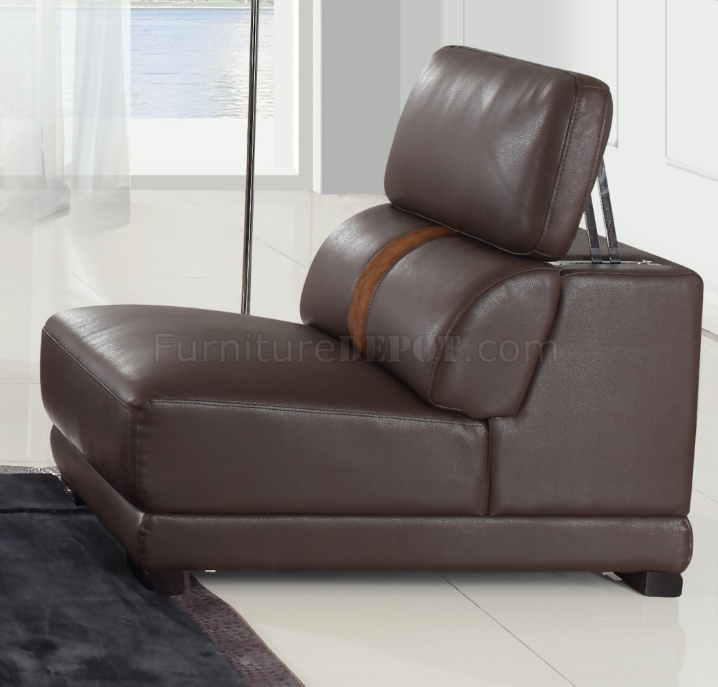 leatherette sofa black chesterfield uk brown modern sectional w optional chair