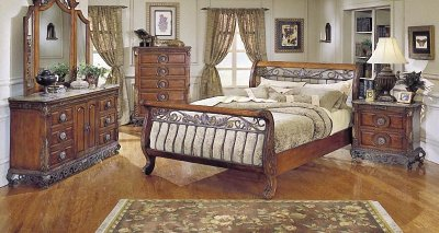 Warm Cherry Finish Traditional Sleigh Bed WIron Gold Tone