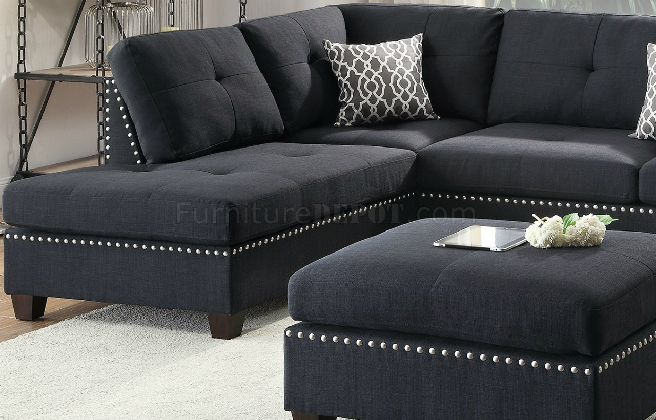formal sofas for living room mirror tables f6974 sectional sofa in black fabric by boss w/ ottoman