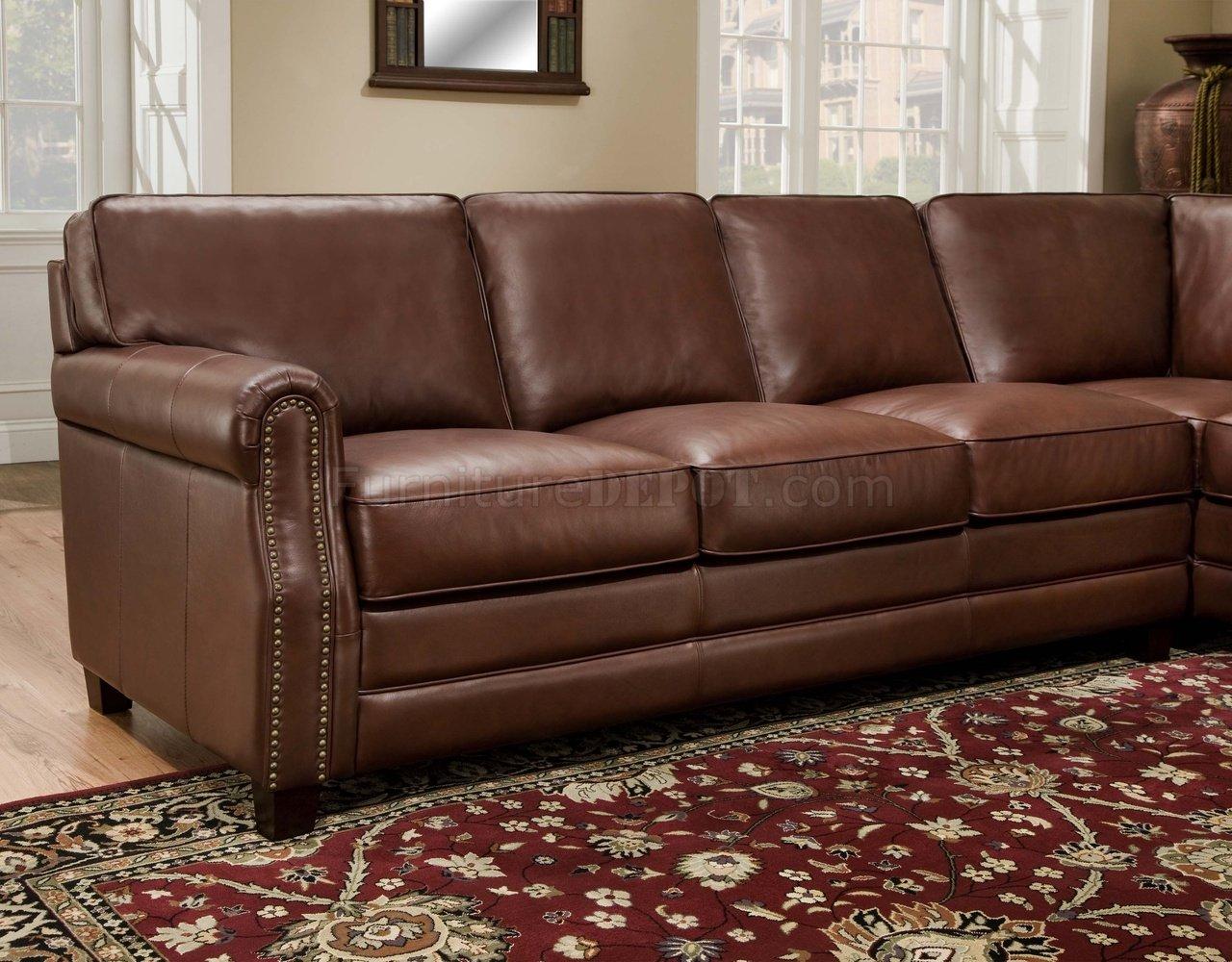 classic italian leather sofa o kitty cocoa brown top grain traditional