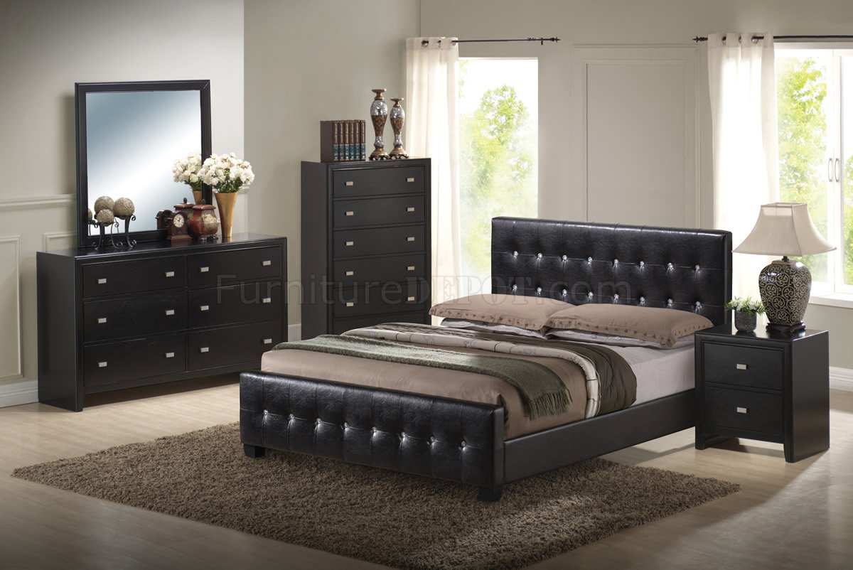 Black Finish Modern Bedroom Set wQueen Size Bed