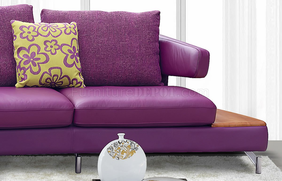 purple contemporary sofa console table behind images genuine italian leather modern sectional w shelves