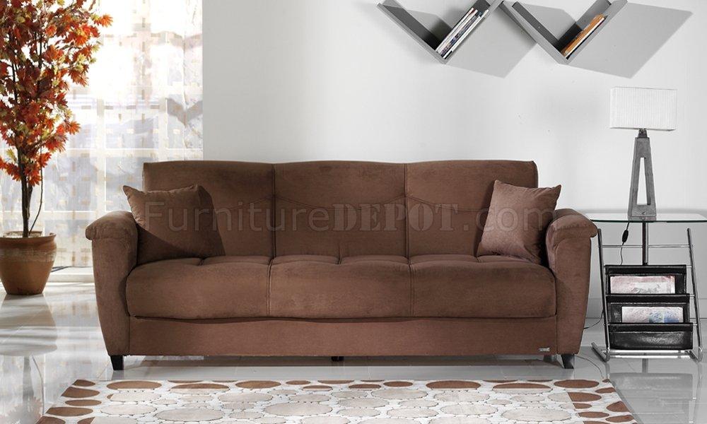 ASPEN Rainbow Storage Sleeper Sofa in Rainbow Microfiber