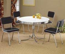 White Top Chrome Base Modern 5pc Dining Set Withblack