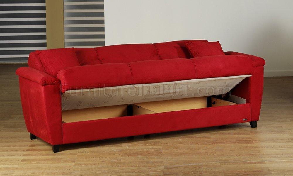 sofa microfiber fabric wood red living room storage sleeper